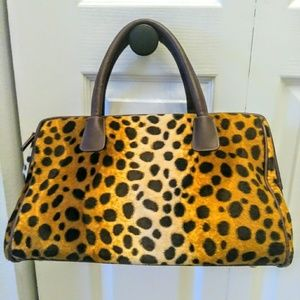 Lancome leopard velour handbag purse